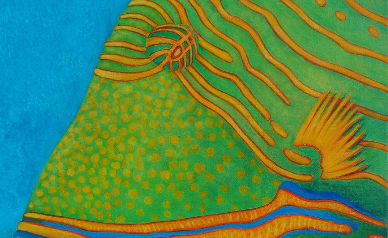 Poisson Baliste strié- 30x30 - acrylique