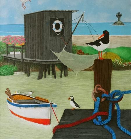 Cabane et Oiseaux à NOIRMOUTIER 65X54