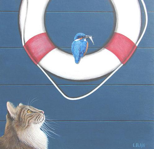 Chat et Martin Pêcheur - 50x50cm - acrylique