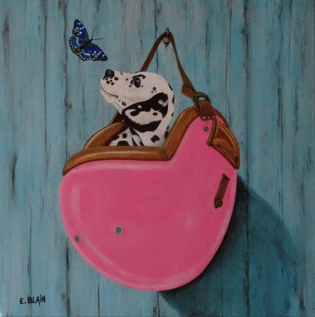 Le Dalmatien et le papillon  50x50