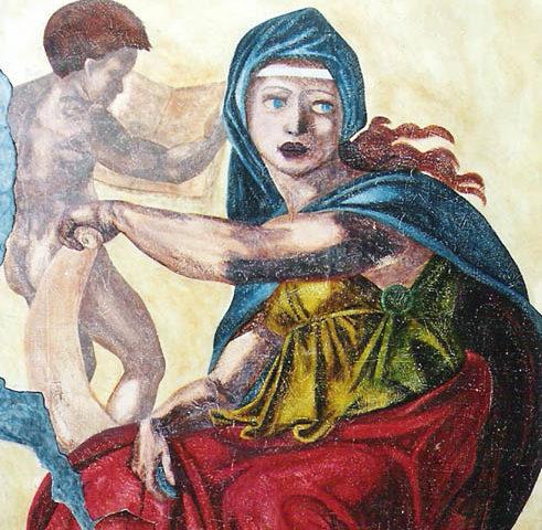 Fresque ancienne Sybille de Delphes - 200x105 - acrylique