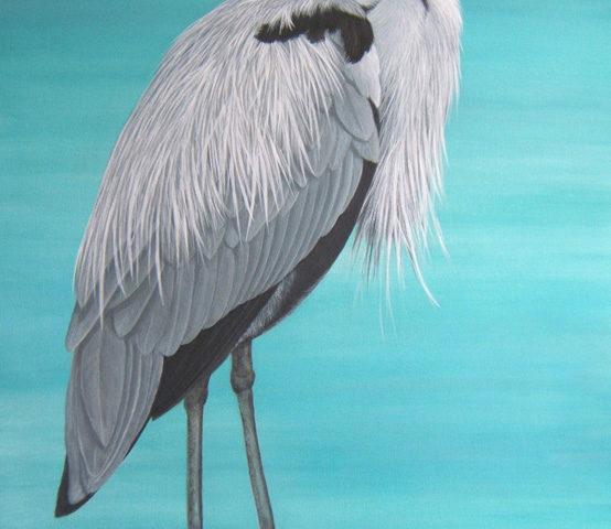 Heron cendre - 100x65 - Acrylique