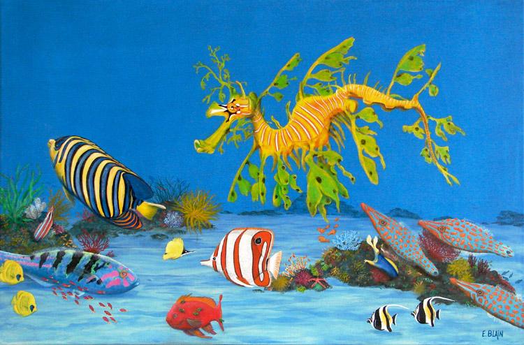 peinture acrylique fond marin artiste peintre mer