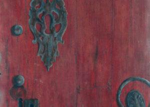 Porte rouge de chine - 60x40 - Huile