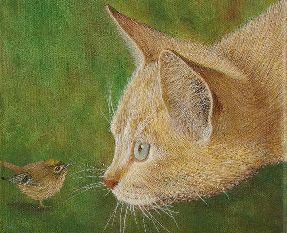 Le Chat et Roitelet - 20x20