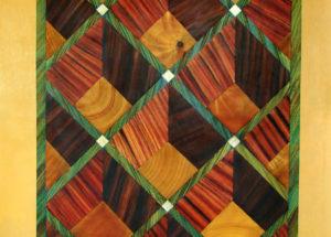 Décor Marqueterie imitation Bois - 2.40x1.05 -huile