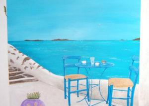 Paysage fenetre Grece -  150x100