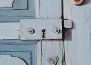 Porte grenier bleu - 60x40 - Huile