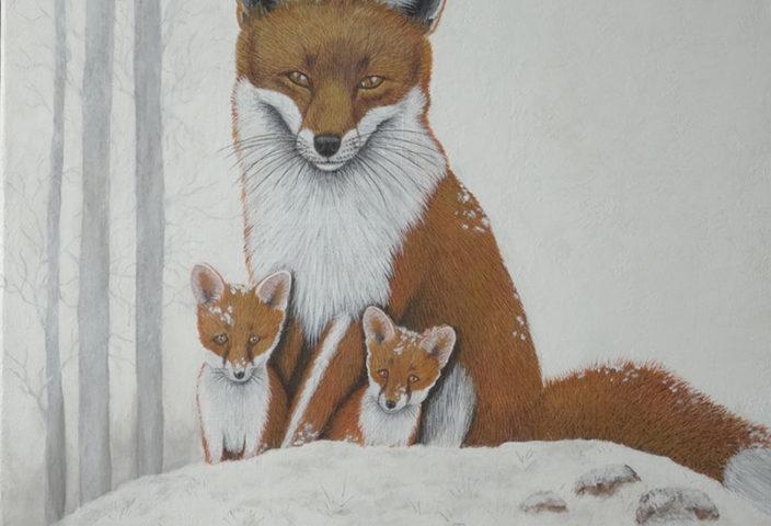 Renard et petits - 50x50 - Acrylique